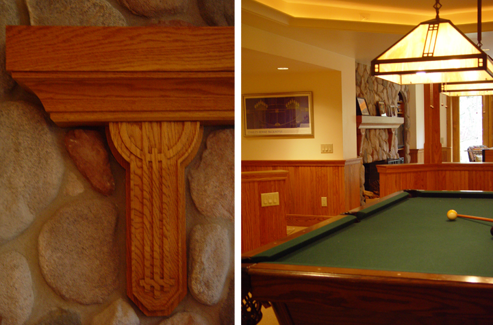 Pool table and hand-carved wainscoting