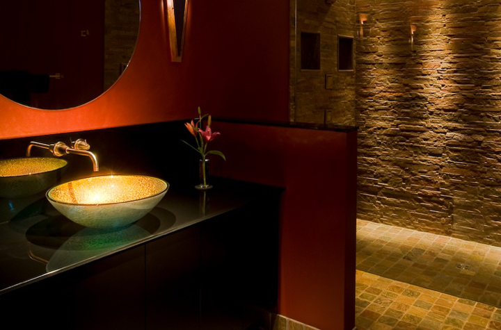 Theatrical Bath; Lighting, Stone, and Glass